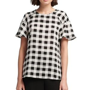 DKNY Black and White Checkered Top